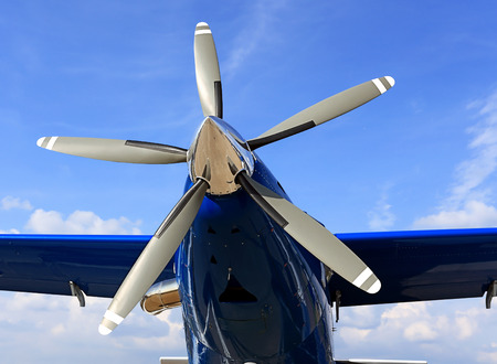 turboprop: Five-bladed turboprop engine of the transport plane Stock Photo