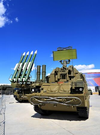 missiles: Mobile starting platforms  with anti-aircraft medium-range missiles and radars Editorial