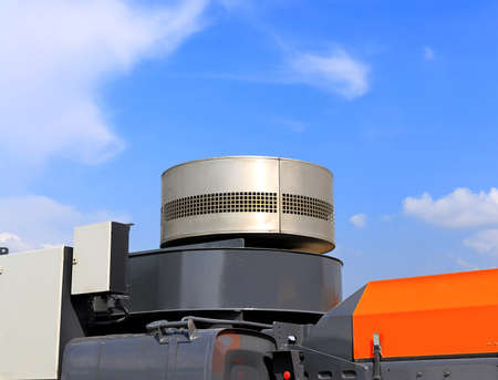 intake: Air intake with inhaler on the top of the heavy airfield vehicle Stock Photo