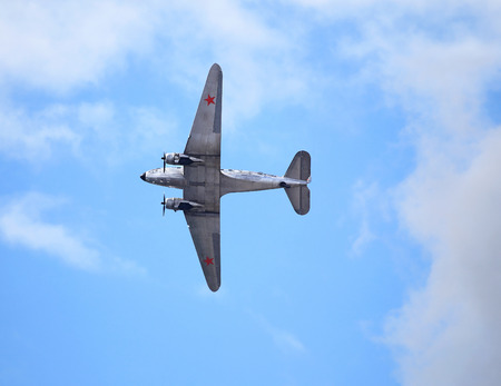 undercarriage: MOSCOW REGION - AUGUST 25: Military transport aircraft Douglas C-47 during the Second World War at the air show on August 25, 2015 in Moscow region
