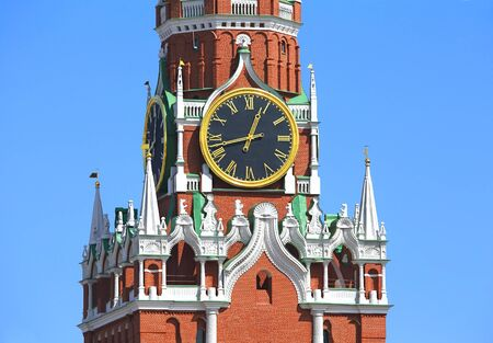 spasskaya: Spasskaya tower of Moscow Kremlin with roman dial clock