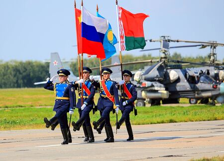 ceremonial: RYAZAN REGION JULY 27: Military ceremonial formation during the opening ceremony of the international competitions of the Air Force Aviadarts-2015 - on July 27, 2015 in Ryazan region