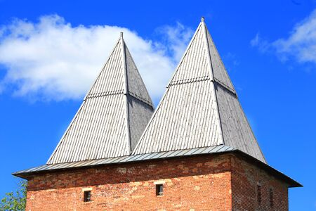 doubleheaded: Ancient double-headed tower of the medieval fortress - Kremlin in Zaraysk, Moscow region Editorial