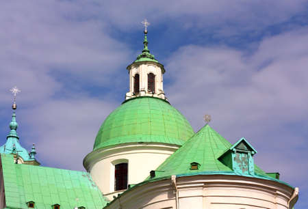 old time: Green domes of the old time orthodox cathedral in the morning sun