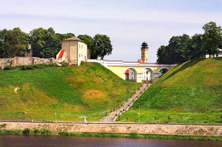 old time: Remains of the ancient fortress, old time bridge and the staircase on the top of the hill by the river Editorial