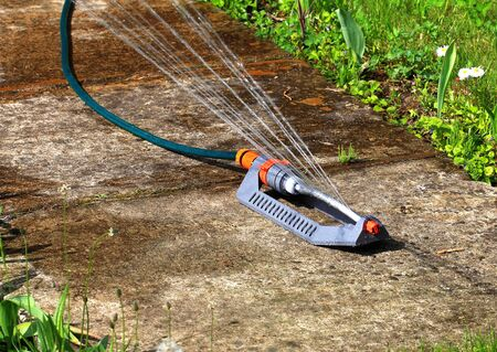pulsating: Portable pulsating spray with hose for watering lawns