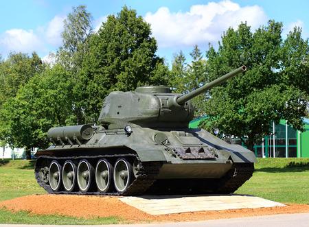 Russian main battle tank of World War II t-34 on pedestal