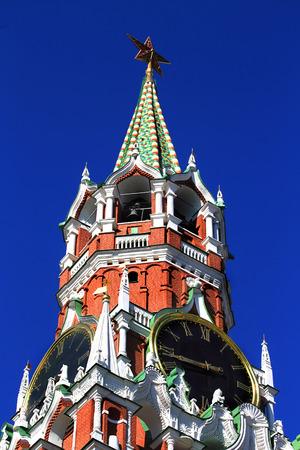 spasskaya: Spasskaya tower of Moscow Kremlin with roman dial clock