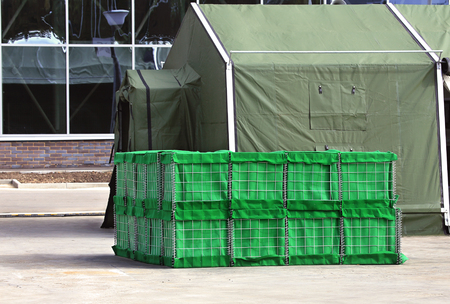pneumatic: Internal heat insulation for pneumatic tents in block packages of green color near tent