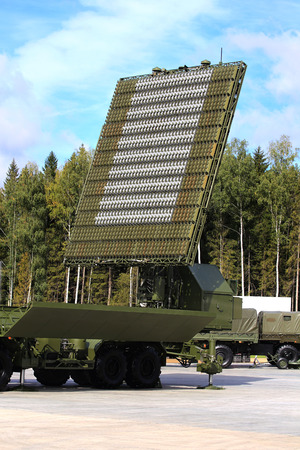 All-around antenna of the air defence compex, made of phased array technology, on a rotating platform