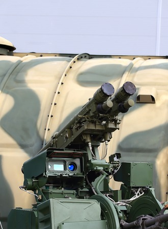 Upgraded twin anti-aircraft automatic gun  equipped with a module for the installation and start-up of two anti-aircraft missiles