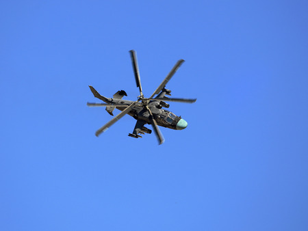 Modern russian attack helicopter Ka-52 with rockets, bombs, guns
