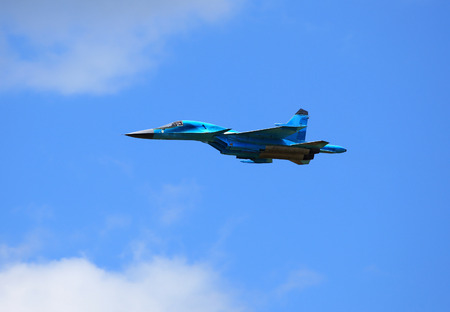 accelerated: Side view of the modern russian fighter SU-34