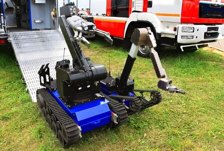Unmanned ground special vehicle for remote-controlled demining 版權商用圖片