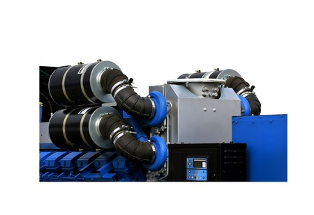 turbine engine: Air intakes with inhaler on the top of the gas turbine engine and a power generator mounted on a steel frame isolated