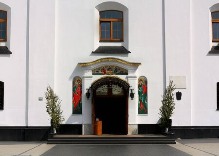 seventeenth: Facade and the  the entrance door to the temple of the seventeenth century Stock Photo