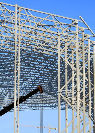 coverings: Detail of skeleton of industrial building during construction Stock Photo