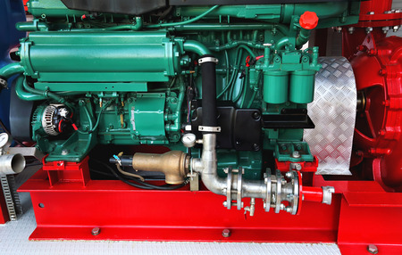 Technical components and assemblies within the a fire truck  Stock Photo