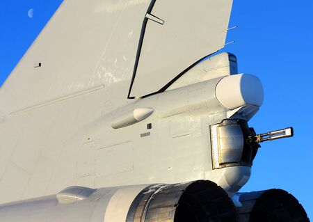 long range: Back of the bomber with twin gun on the tail  turret Stock Photo