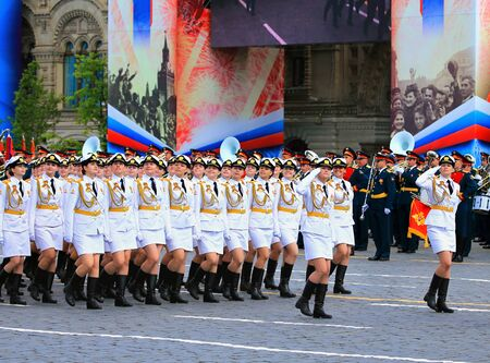MOSCOW MAI 7: Parade formation in solemn march on Red Square - on Mai 7, 2016 in Moscow