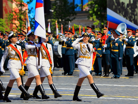 MOSCOW MAI 9: Parade formation in solemn march on Red Square - on Mai 9, 2016 in Moscow