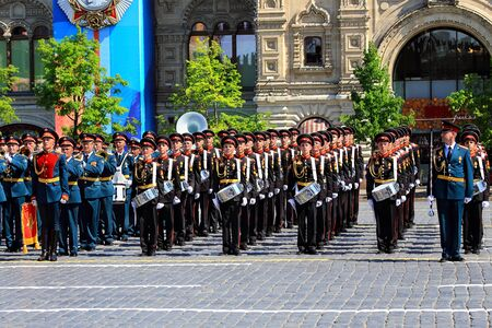 MOSCOW MAI 9: Parade formation of the military musicians on Red Square - on Mai 9, 2016 in Moscow