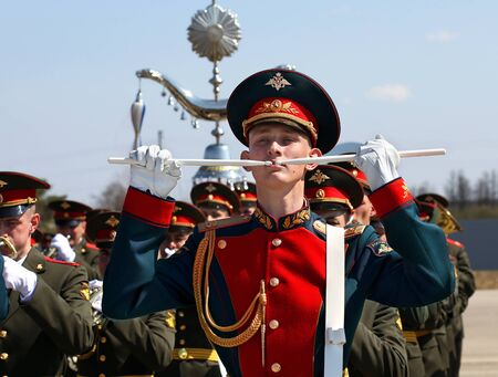 MOSCOW REGION APRIL 28: Drummer at the rehearsal of a military band for the parade - on April 28, 2015 in Moscow Region