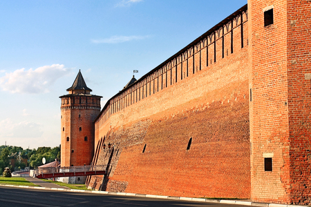 Ancient massive wall and wall tower of Kremlin in Kolomna, Moscow region
