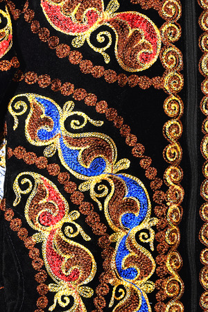 Colorful patterns on the black background   texture of oriental carpet