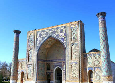 Pishtak with Persian-style paintings< columns and pointed arches