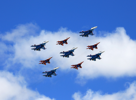 MOSCOW – MAI 4: Group of russian tactical  bombers fly over Red Square in training for the Victory Parade -  on Mai 4, 2017 in Moscow