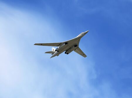 MOSCOW - MAI 9: Russian long-range strategic bomber Tu-160 fly over Red Square - on Mai 9, 2015 in Moscow