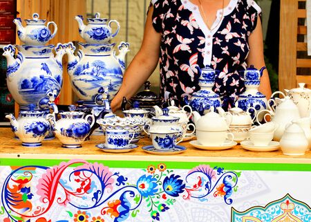 Tea ware on the markets counter for sale