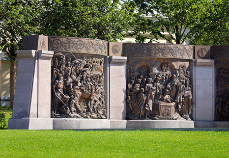 Two cast bronze bas-reliefs depicting scenes from the life of Grand Duke Vladimir - an element of the monument in Moscow