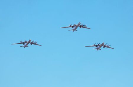 Group of three  strategic bombers in the sky