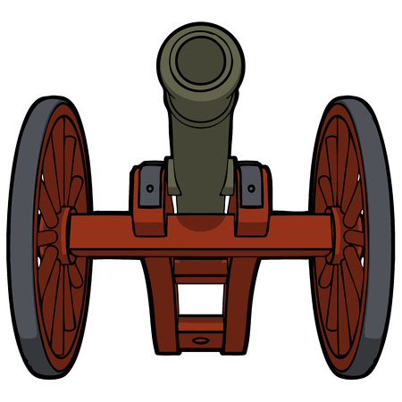 civil war cannon with view from the bottom vector