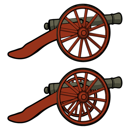 civil: civil war cannon with view from the side vector Illustration