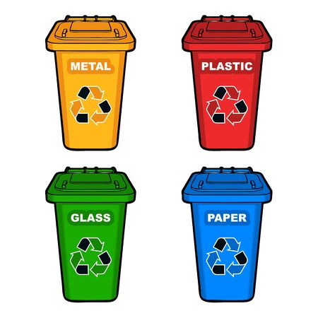 refuse: four different colored recycling bins with recycle sign vector