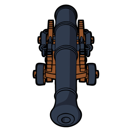 naval: naval cannon with view from the front vector Illustration