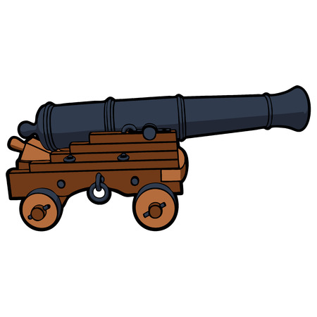 naval: naval cannon with view from the side vector