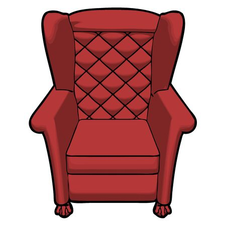 leather armchair: vintage red leather armchair with view from the front vector Illustration