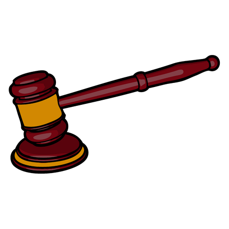 lawsuit: wooden judge gavel and sound block vector Illustration