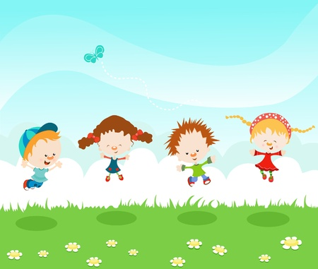Kids Jumping With Joy Illustration