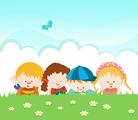 Kids Lying On The Grass Vector