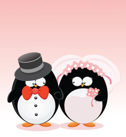 Wedding Penguins Illustration