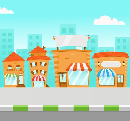 mall shopping: Strip Mall Illustration Illustration