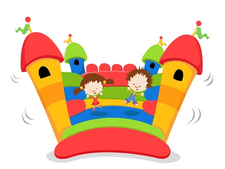 Kids Playing On Bouncy Castle Vector