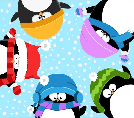Cute Penguins Celebrating Snow Vector