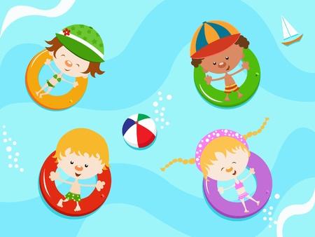 enfant maillot de bain: Enfants flottant avec chambres � air Illustration