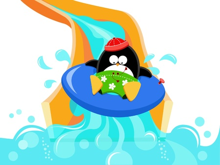Penguin Having Fun On Water Slide Vector